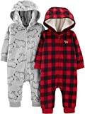 Simple Joys by Carter's Boys' 2-Pack Neutral Fleece Hooded Jumpsuits, Buffalo Plaid/Grey B...