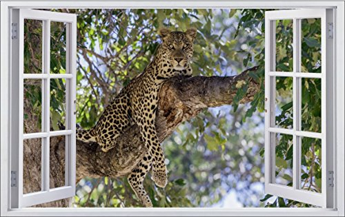 DesFoli Fenster 3D-Optik Wandtattoo 70 x 110 cm Wandbilder Sticker Aufkleber Bild (F034)