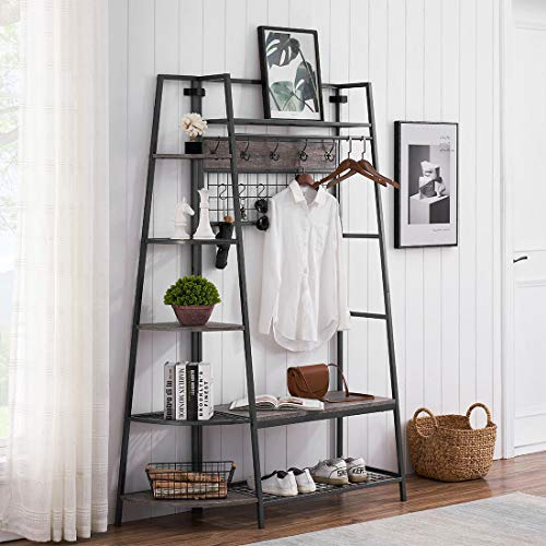O&K FURNITURE Entryway Hall Tree with Storage Shelves and Bench Industrial Shoe Rack Bench with 10 Coat Hooks and Hanging Bar Gray