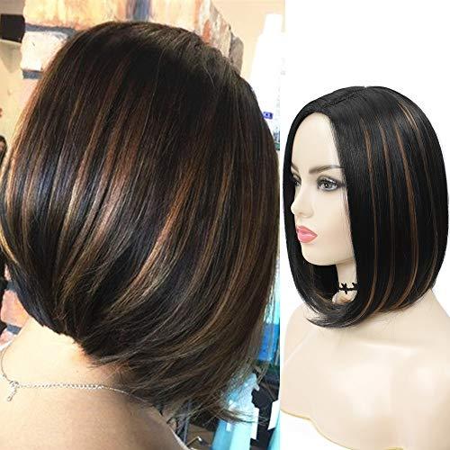 Perruque noire femme blonde courte naturelle ombre perruque synthétique bob lisse 12inch