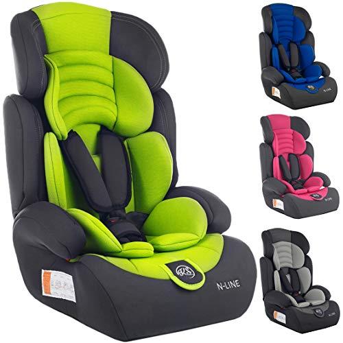 Autokindersitz Autositz Kinderautositz mit Extrapolster Kids 9-36 kg 1+2+3 ECE 4 Farben NEU Kindersafety NEU + ECE R44/04 geprüft, Farben zur Auswahl 5-Punkte-Sicherheitsgurt Kopfstütze (KP0101GRN)