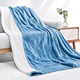 Electric Heated Blanket Twin Size 62'x 84' Flannel & Shu Velveteen Reversible, Fast Heating and for Full Body Warming with 10 Hours Auto Off & 4 Heat Settings, Machine Washable, Home Office Use