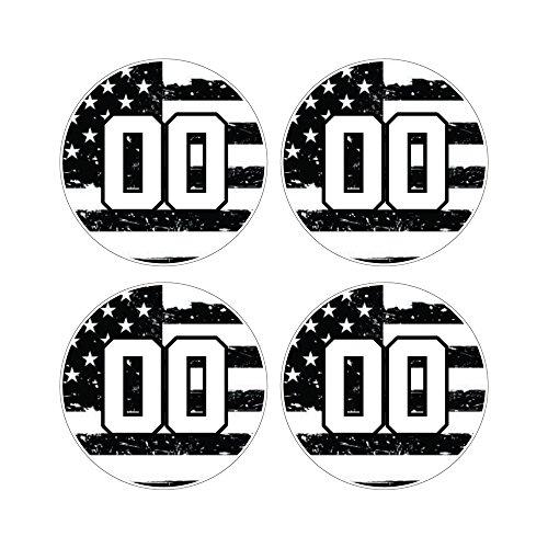定制棒球球棒贴花集-黑色和白色美国国旗设计球棒把手贴纸