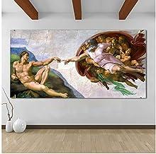 chthsx Arte de la Lona Pintura al óleo clásica Creación de Miguel Ángel de Adán Cuadros de Pared para Sala de Estar Cuadros modulares -70x140 cm Sin Marco