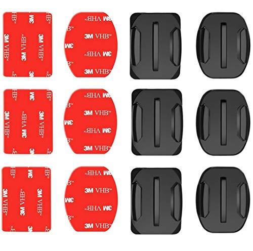 Voarge 6 Pcs Klebehalterung Flache Gebogene Klebepad Helm Halterung Helmbefestigung aus 3M Kleber Kompatibel mit GoPro Hero 8, 7, 6, 5, 4, Session, 3+, 3, 2, 1, Hero (2018), Fusion, Max Kameras