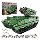 BGOOD Tanque de ingeniería teledirigido Juego de construcción, 1689 piezas RC antimisile Panzerwagen WW2 Militär Panzer Modelo para niños y adultos, compatible con Lego Technic