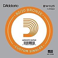 D'Addario ダダリオ アコースティックギター用バラ弦 80/20ブロンズ .025 BW025 【国内正規品】