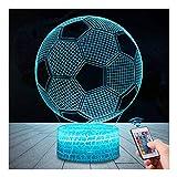 3D Fußball Lampe LED Nachtlicht mit Fernbedienung, USlinsky 7 Farben Wählbar Dimmbare Touch Schalter USB Nachtlampe GeburtstagGeschenk, FroheWeihnachten Geschenke Für Mädchen, Männer, Frauen, Kinder