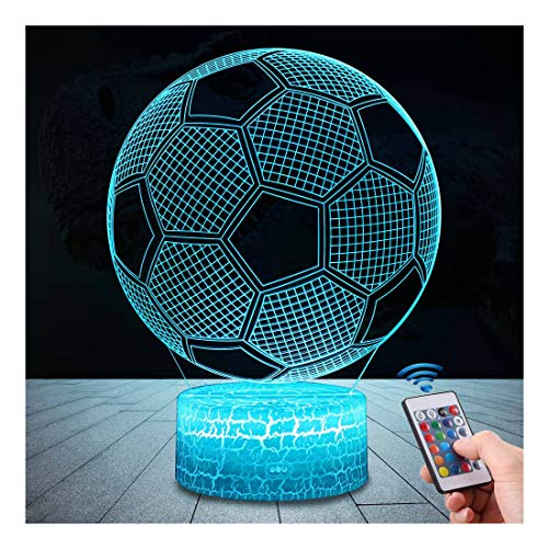 QiLiTd 3D Football Gifts Toys Decor LED Night Light with Remote Control, 16 RGB Colours Bedside Lamp, Smart Touch Adjustable Brightness, Birthday Present Decoration for Baby Boy Girl Kids Women Men