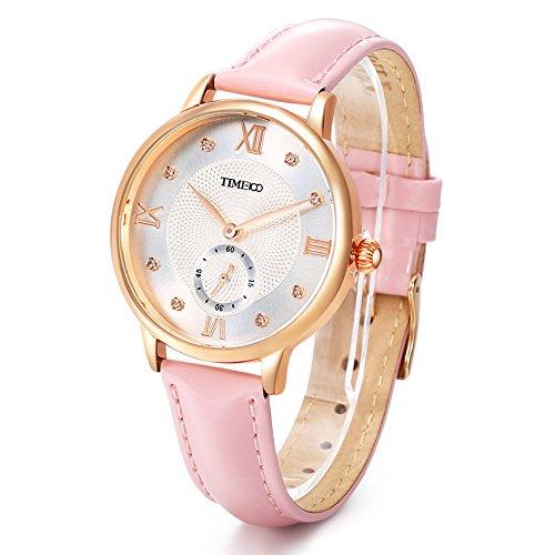 Time100 Reloj Cuarzo para Mujer de número Romano con Diamante de Color...