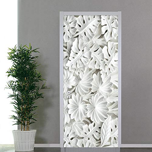 3D Door Sticker Wallpaper Papel Pintado De Yeso De Hoja Blanca, Adhesivo Impermeable De PVC, Adhesivo Autoadhesivo para Puerta