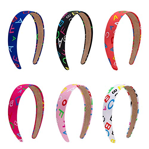 Haarreifen Stoff Haarband Stirnbänder Rutschfeste Haarbänder 30mm Breite DIY Haarschmuck für Mädchen Kinder Mehrfarbig 6 Stück