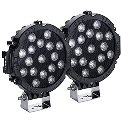 WOWLED 51W 7Inch CREE LED Flood Lamp Work Driving Light for SUV ATV Boat Truck