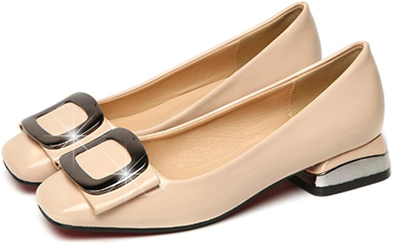 SXHDMY Single shoes Female Spring Thick Heels Korean Version of The Wild Buckle Women's shoes Women's Wild Work shoes Tide 34-40 Yards high Heels (color   Apricot, Size   6 US)
