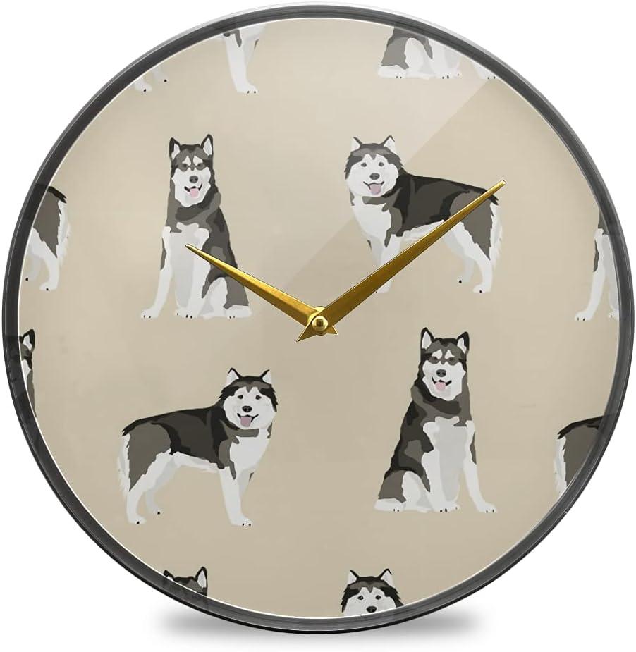 Wall Clock Round Ranking TOP5 Creative Hanging Clocks Malamute D SALENEW very popular! Alaskan
