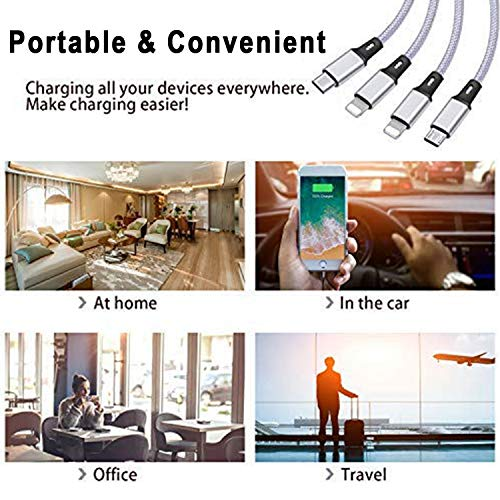 6FT Multi USB Kabel 3Pack, Bolatus 4 in 1 Ladekabel Nylon Universal Mehrfach Handy Ladegerät Kabel Micro USB Typ C Kompatibel für alle Smartphone, Tablets und mehr - Silber 1.8m