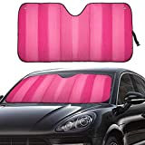 MCBUTY Windshield Sun Shade for Car Pink Thicken 5-Layer UV Reflector Auto Front Window Sunshade Visor Shield Cover and Keep Your Vehicle Cool(55' × 27.5')