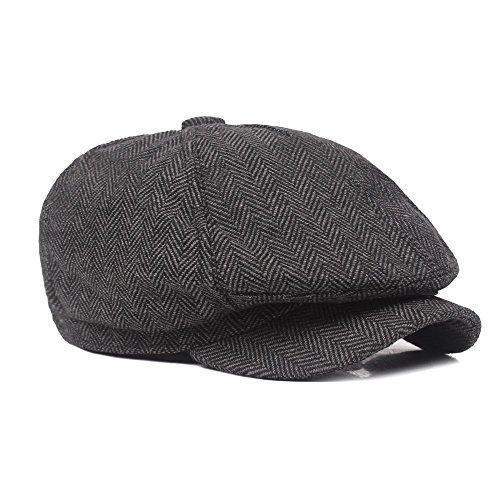 iTemer 1 Pieza de Moda otoño e Invierno Gruesos Gorros de Sombrero de Boina de Viento británico Sombrero Casual de los Hombres Gris Oscuro