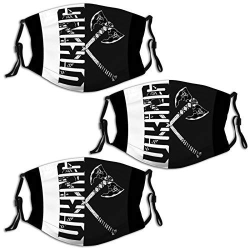 Nuberyl Viking Axt Schwarz 3 Stück Wiederverwendbare Erwachsene Gesichtsmasken Sturmhaube Halstuch, Bandana Schal Unisex