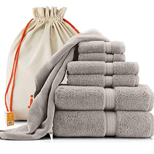 joluzzy Luxury 7-Pic Silver/Gray Towel Set - 100% Long-Staple Turkish Cotton - High Absorbent 700 GSM - Soft & Plush - Hotel Quality - 2 Bath Towels, 2 Hand Towels, 2 Face Towels, 1 Floor Mat