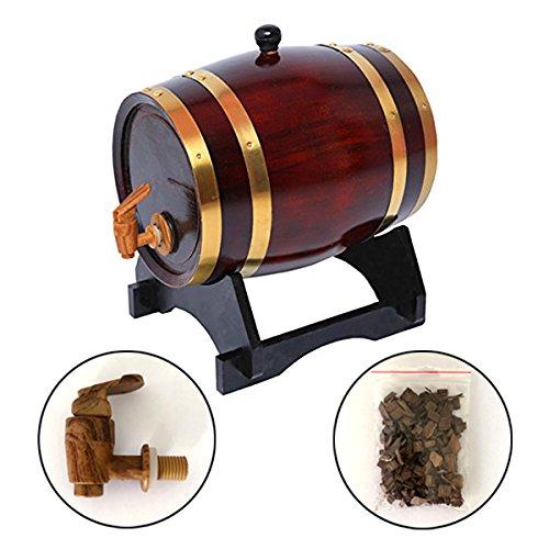 Dispensador de barril de whisky de 5 litros de madera de roble, decantador de barril de vino para servir mesa de acento en el hogar, almacenamiento de licores, licores y whisky (retro)