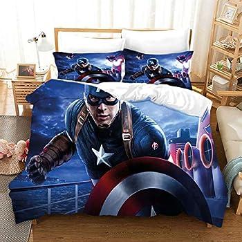 Satauly Avengers Bedding Set The Avengers Duvet Cover Sets Captain America Bed Sets for Kids Teens Boys Girls 3 Pieces Queen Comforter Sets 1 Duvet Cover 2 Pillowcase No Comforter
