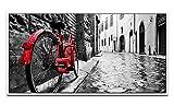 Paul Sinus Art Vélo rétro en Ville d'environ Tableau Mural avec Cadre de Joints d'ombres Blanc 130 x 70 cm