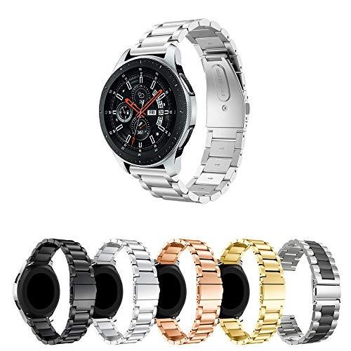 Pulseira Metal 3 Elos para Samsung Gear S3 Frontier - Gear S3 Classic - Galaxy Watch 46mm BT - Amazfit GTR 47mm - Amazfit Stratos 3 - Marca Ltimports (Prata)