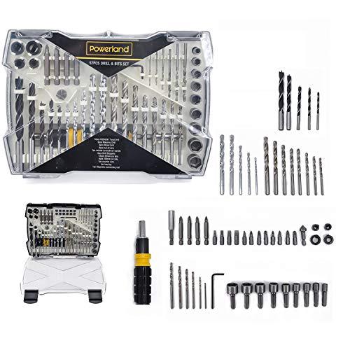 Powerland 57Pcs Bohrschraubendreher-Bits-Set Combo-Bohrer-Set-Tool-Kit Home Repair Improvment Holzbearbeitung Brad Point-Bit-Set Spiralbohrersatz M01012