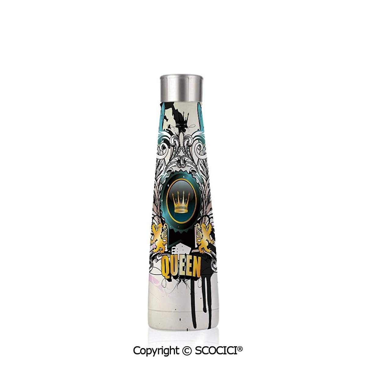 Conical Stainless Steel Vcuum Flask Queen Artistic Design Arms Shield With Crown Wings And Victorian Floral Elements Imperial,Multicolor