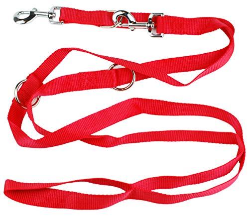 Kongs Hundeleine Doppelleine 3 Fach verstellbare Hundeleine Leine Führleine 2,5cm breit in rot (3,5 M)