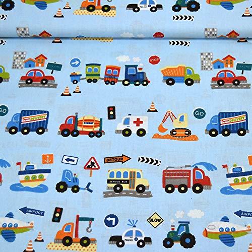 MAGAM-Stoffe Bunte Autos Baumwollstoff Kinderstoff 100% Baumwolle Oeko-Tex Meterware 50cm (Hellblau)