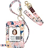 ID Badge Holder with Lanyard, Fashion Lanyard Wallet with 1 Clear ID Window, Credit Cards Coins Cash Pouch with a Detachable Neck Lanyard and a Wrist Lanyard (Daisy Pattern)