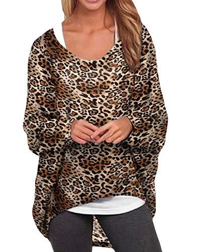 ZANZEA Damen Langarmshirt Jumper Sweatshirts Oversize Pullover Asymmetrisch Leopard Tops 001-leopard Braun XXX-Large