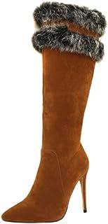 Hoge Dameslaarzen, Dames Suède Bontlaarzen Met Zijrits, Puntige Stiletto Damesschoenen Met Hoge Hakken,Brown,33