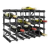 Weinregal/Flaschenregal System TREND, für 30 Fl, Holz Kiefer schwarz gebeizt, komplett montiert, stapelbar/erweiterbar - H 42 x B 61,2 x T 22,8 cm
