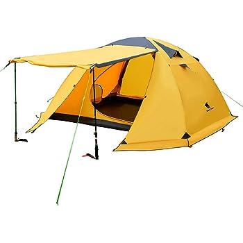 GeerTop 2-4人用 4シーズンテント 二重層構造 PU5000MM 大型 防水 軽量 前室 ファミリー 家族 旅行 バックパック キャンプ ハイキング アウトドア 簡単セットアップ