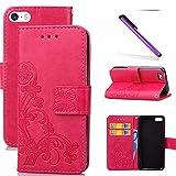 COTDINFOR iPhone 5C Funda trébol Cierre Magnético Billetera con Tapa para Tarjetas de Cárcasa Elegante Retro Suave PU Cuero Caso Protectora Case para iPhone 5C Clover Red SD