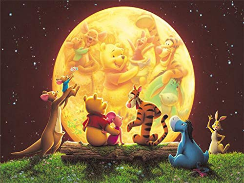 5D Diamond Painting Paint by Numbers Kits for Adult,Full Drill Diamond Embroidery Kit Crystal Rhinestone Embroidery Cross Stitch Arts Craft Supply Canvas Wall Decor Disney Winnie the Pooh 12 X 16 Inch