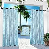 Cortinas impresas al aire libre, color azul, líneas de zigzag de color azul, ancho 132 cm x largo 241 cm con ojales térmicos para patio porche cabana (1 panel)