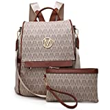 MKP Women Fashion Backpack Handbags Purse Anti-theft Rucksack Designer Travel Bag Ladies Shoulder Bags with Matching Wristlet (Beige)