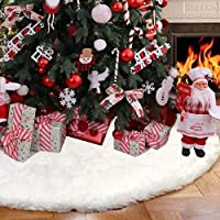 BSSN 60 Inches Skirt Fur Plush Snowy White Christmas Tree