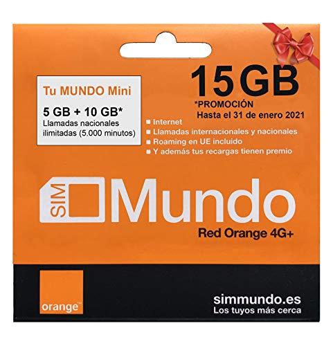 Orange - Tarjeta SIM Prepago (Tu Mundo Mini) 15 GB en España | 400 Minutos Nacionales e internacionales | 5 GB Roaming en Europa | Activación Online | Velocidad 4G