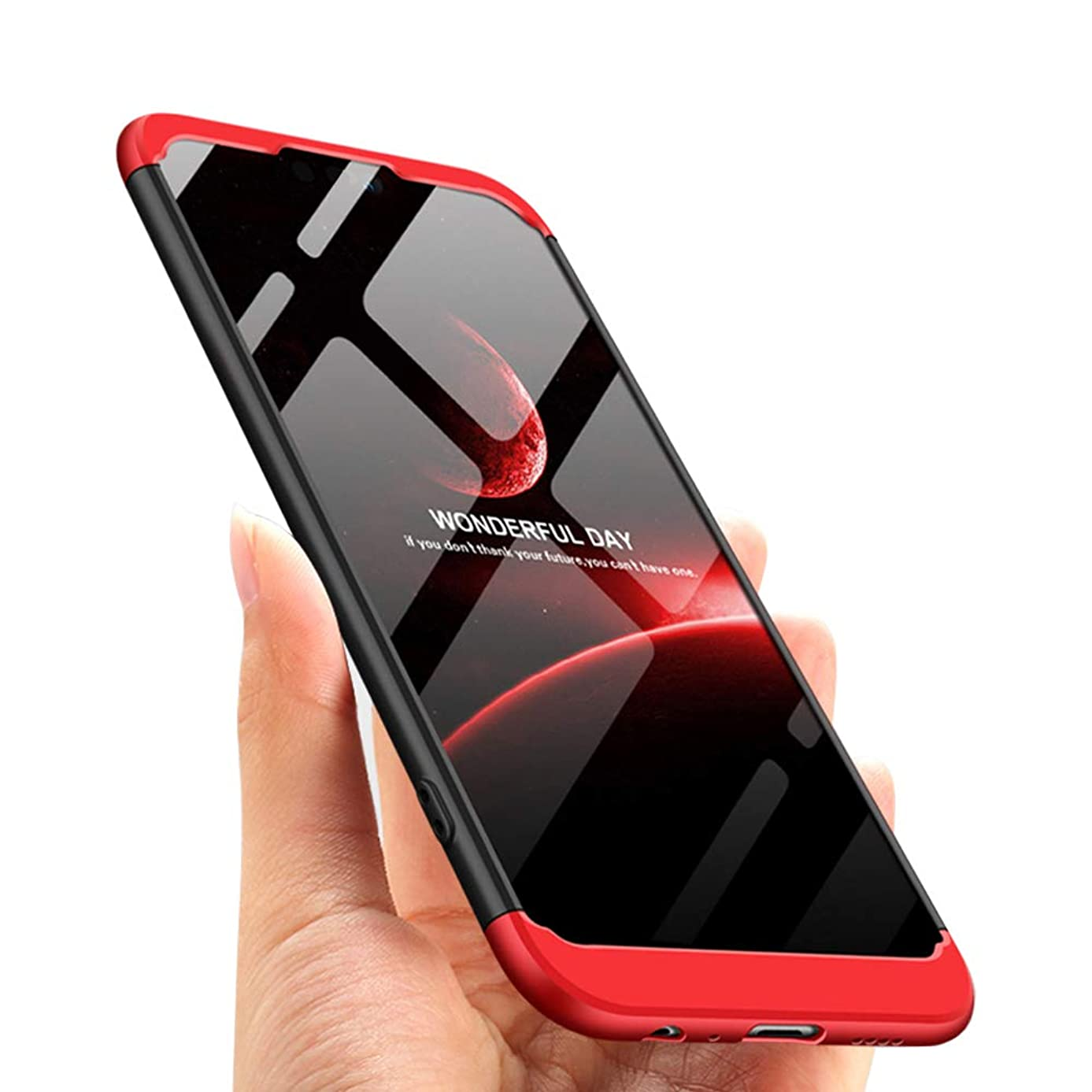 Y9 2019 Case Compatible with Huawei Y92019 Cover 360 Full Body Protection Slim Thin Luxury Protective Coque 3 in 1 Skin 9Y2019 Huwai 6.5 Inch (Red)