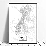 Leinwanddruck,Quito Ecuador Schwarz Weiß