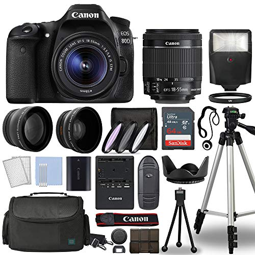 Canon EOS 80D Digital SLR Camera Body with Canon EF-S 18-55mm f/3.5-5.6 is STM Lens 3 Lens DSLR Kit Bundled with Complete Accessory Bundle + 64GB + Flash + Case/Bag & More - International Model
