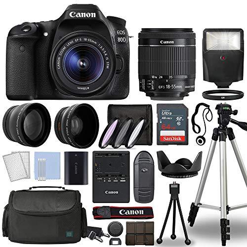 Canon EOS 80D Digital SLR Camera Body with Canon EF-S 18-55mm f/3.5-5.6 is STM Lens 3 Lens DSLR Kit Bundled with Complete Accessory Bundle + 64GB + Flash + Case/Bag & More – International Model