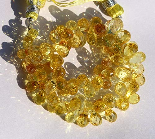 LOVEKUSH 50% Off Gemstone Jewellery 9x7-10x8 mm Yellow Corundum Quartz Faceted Teardrop Briolettes 4