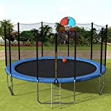 15FT Round Trampoline with Net Enclosure, Basketball Hoop and Ladder, Backyard Outdoor Trampoline Combo Jump Trampline for Kids Adults (15FT, Blue)