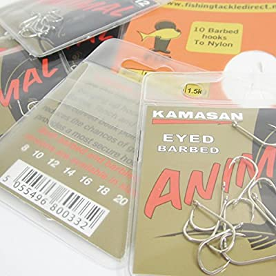 FTD - Min 30 (3 packs of 10) KAMASAN ANIMAL (BARBED) Eyed Fishing Hooks Sizes 8, 10, 12, 14 & 16 - comes with 10 FTD Barbed Hooks to Nylon (3 packs - size 12)